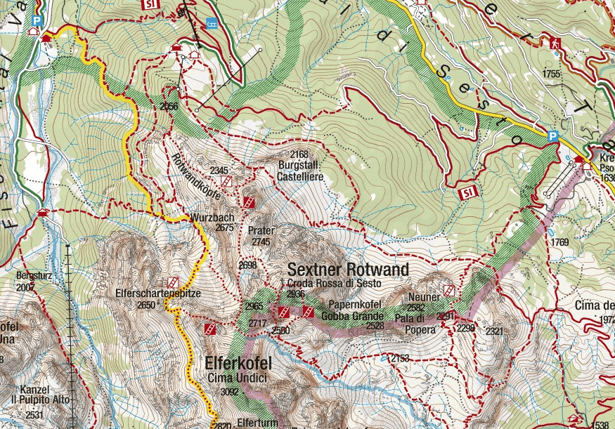 Ferrata Costoni Croda Rossa Sesto map