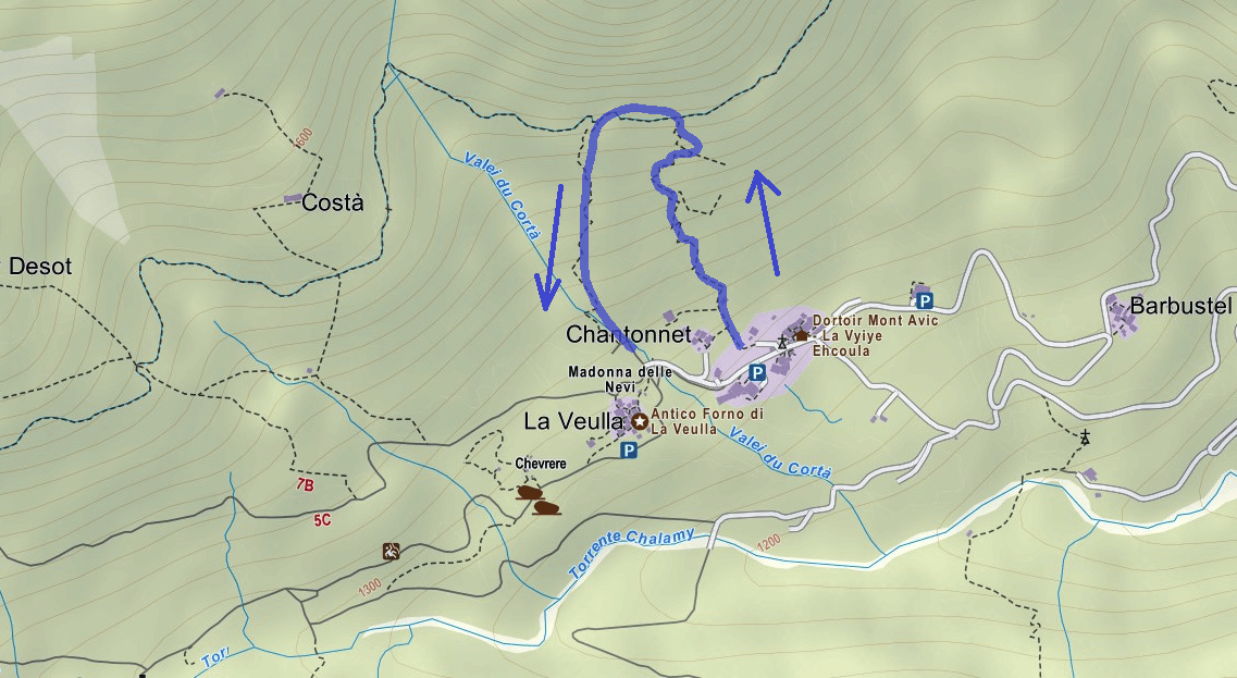Covarey Ferrata Route Map