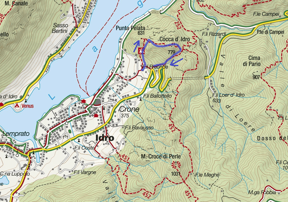 Crench Ferrata Map Itinerary