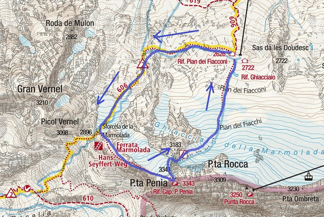 Cartina Ferrata Cresta Ovest Marmolada Punta Penia Itinerario