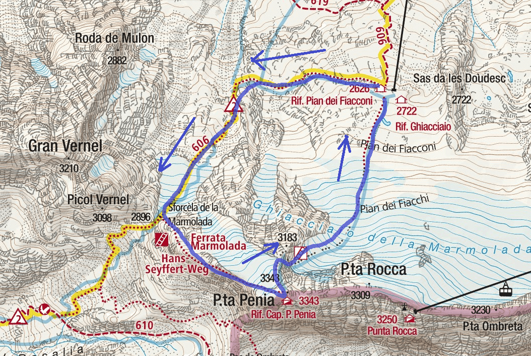 Ferrata map West Crest Marmolada Punta Penia Itinerary