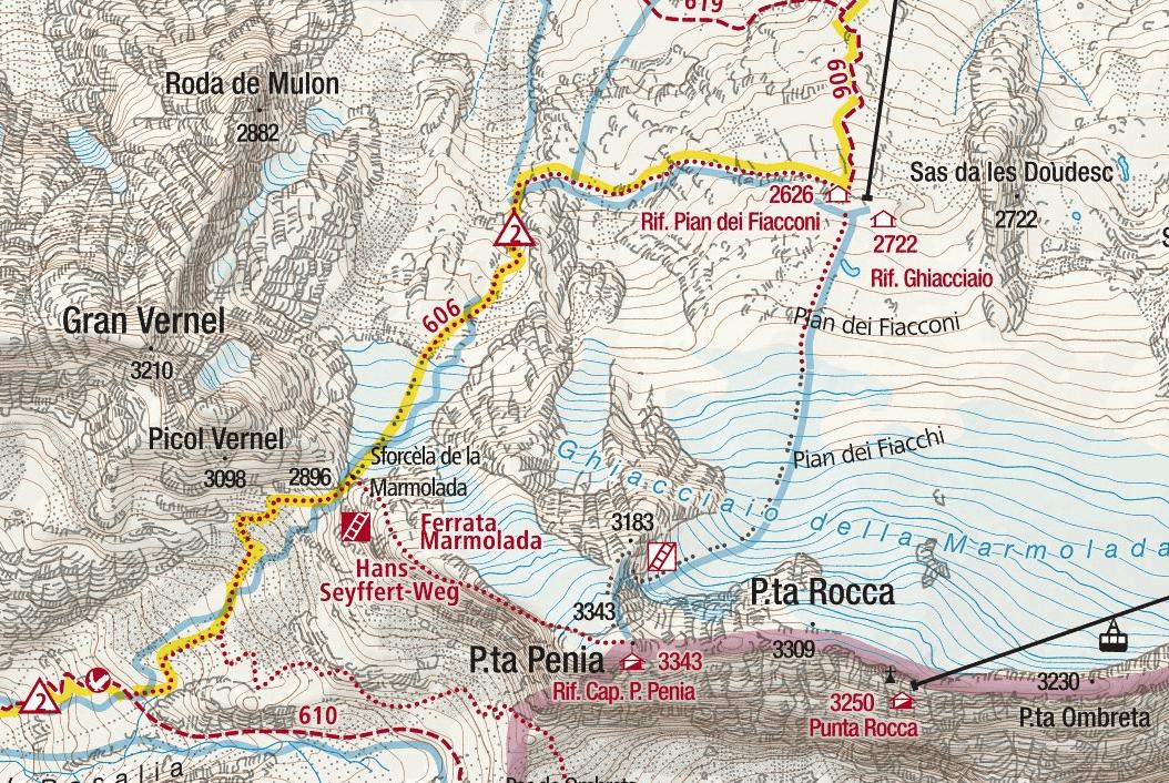 Ferrata West Ridge Marmolada Map Punta Penia
