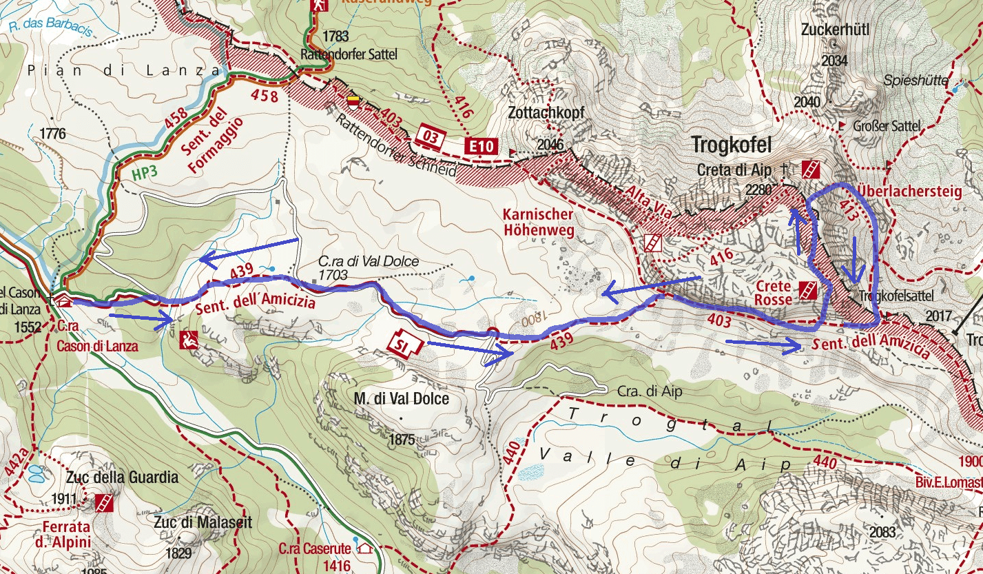 Crete Rosse Ferrata Map Itinerary