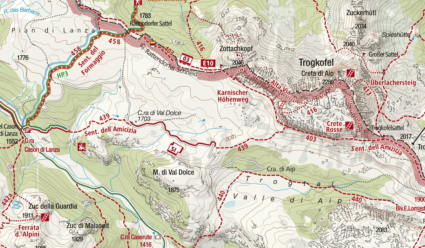 Crete Rosse Ferrata Map