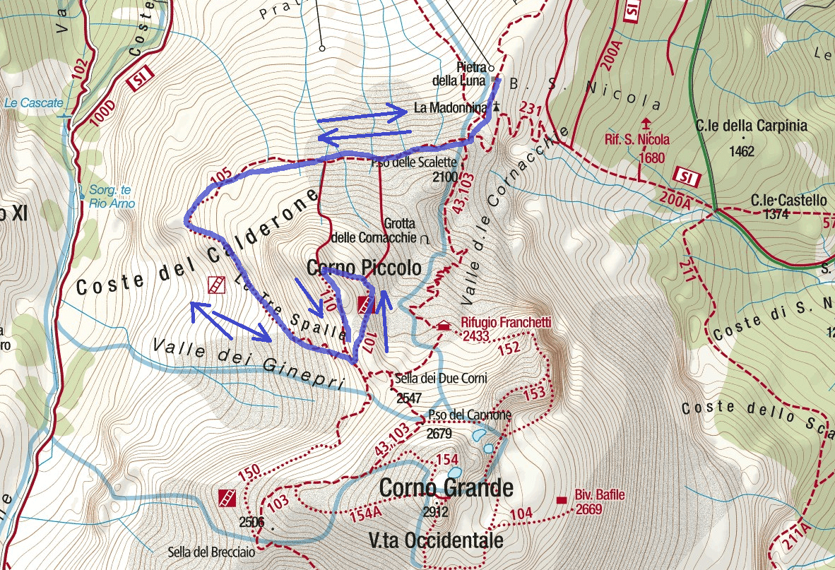 Ferrata Danesi Map Itinerary