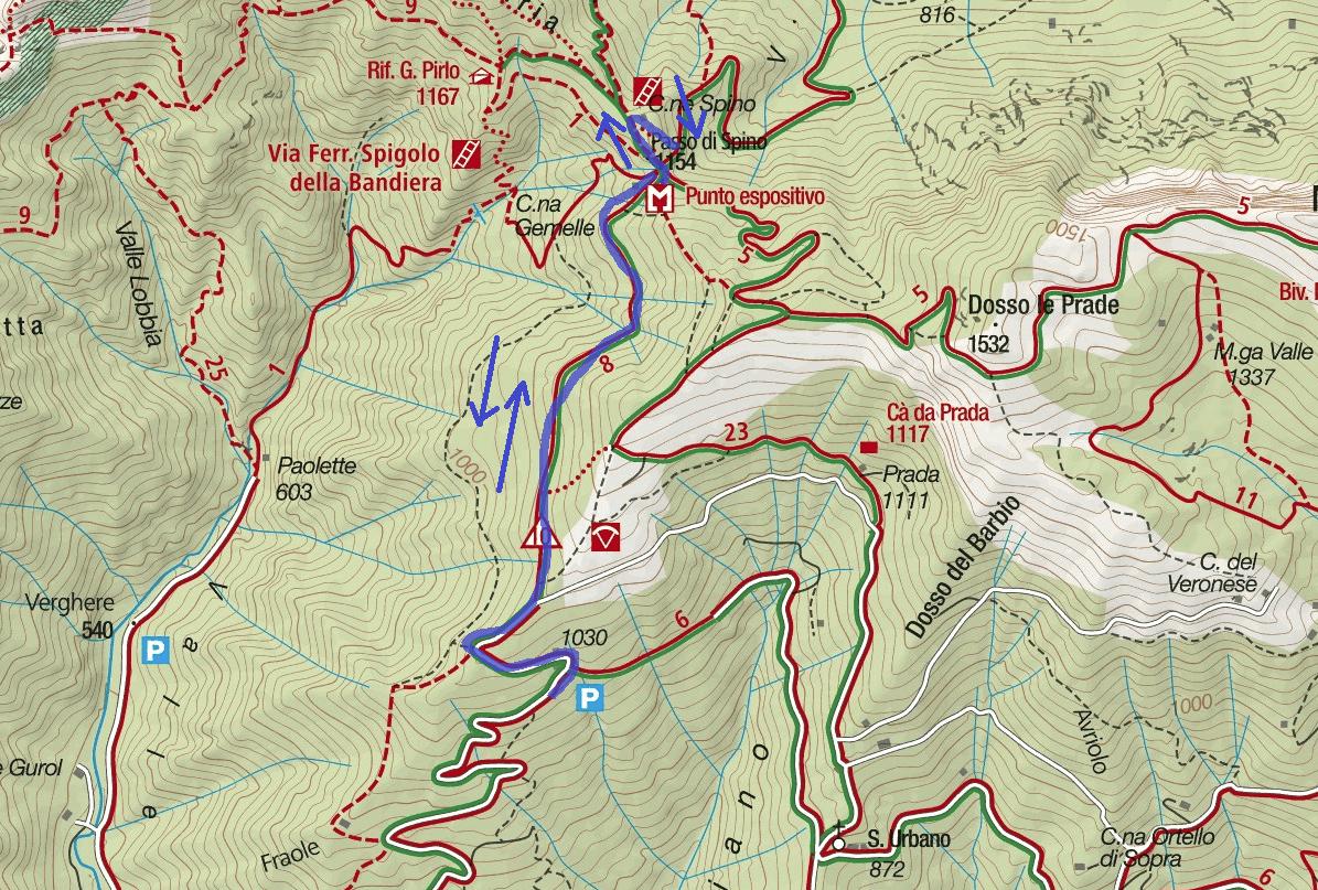 Ferrata Ernesto Franco Route Map