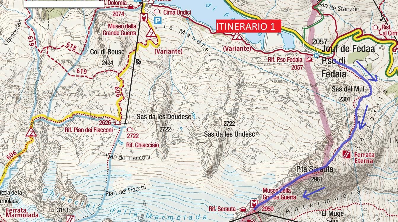 Cartina Ferrata Eterna Piz Serauta Itinerario 1