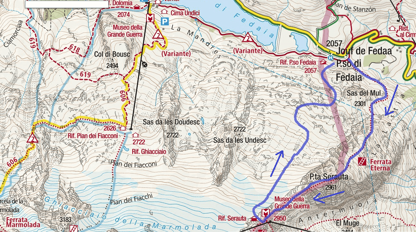 Cartina Ferrata Eterna Piz Serauta Itinerario 2