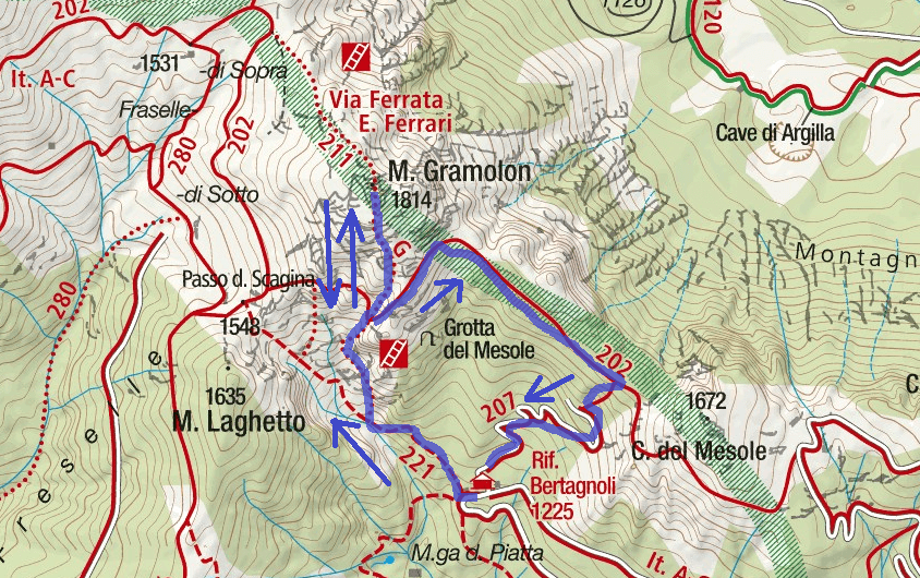 Ferrari Gramolon Route Ferrata Map