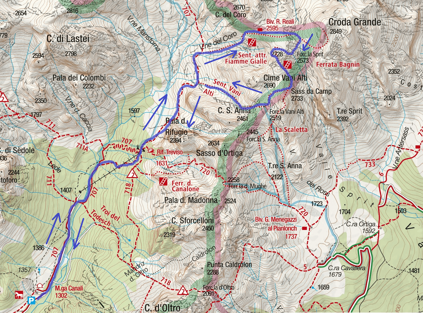Fiamme Gialle San Martino Itinerary Map Route 2
