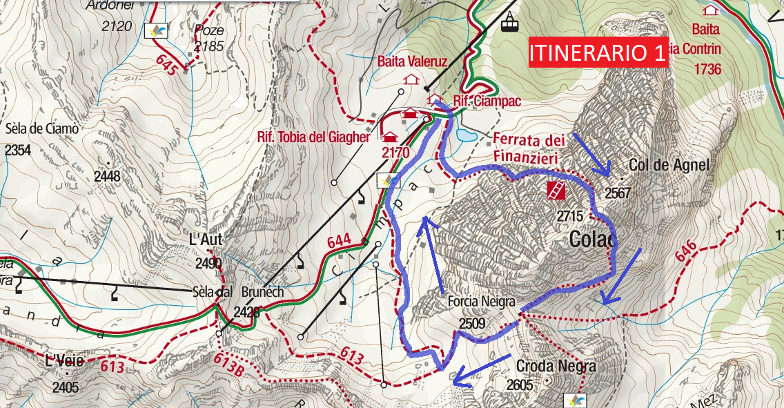 Ferrata Map Financiers Colac Itinerary 1
