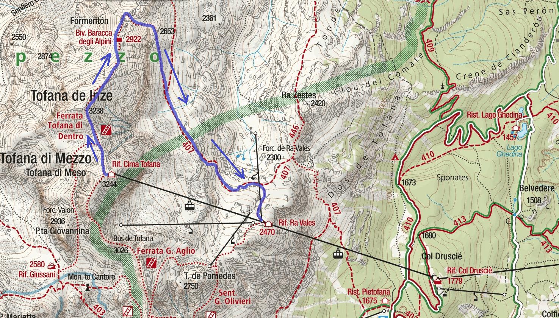 Cartina Ferrata Formenton Tofana Dentro Itinerario 1