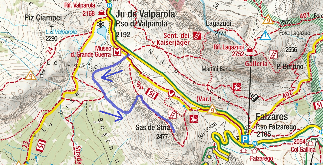 Ferrata Fusetti Sass Stria Route 2 Map