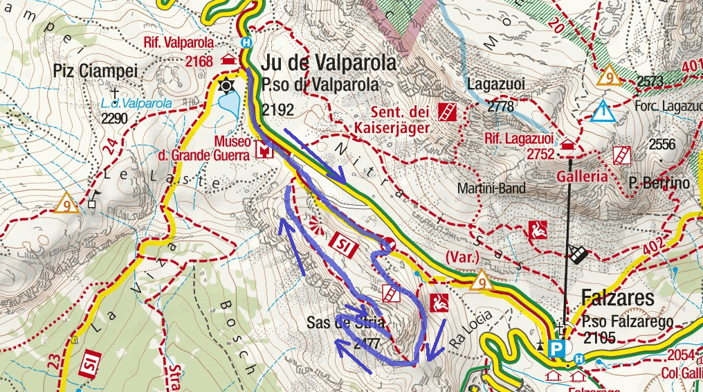 Ferrata Fusetti Sass Stria Itinerary Map