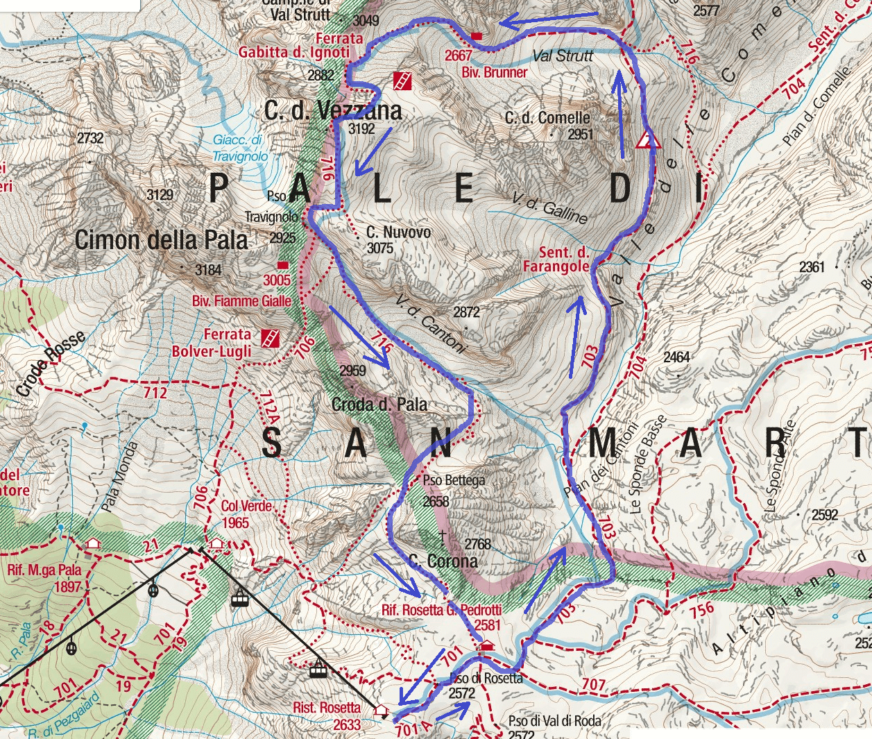 Gabitta d'Ignoti Ferrata Map Itinerary