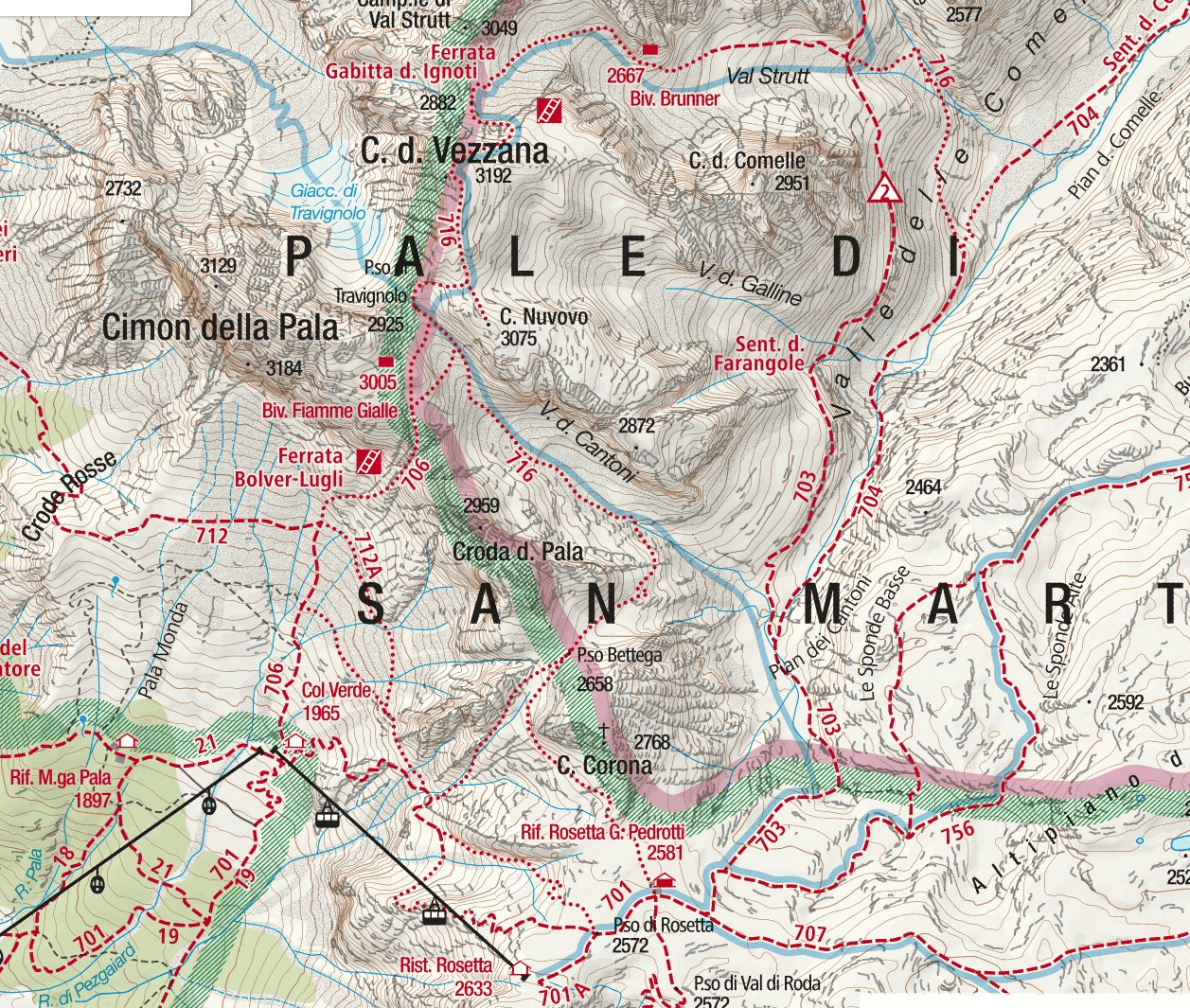 Ferrata Gabitta d'Ignoti Map