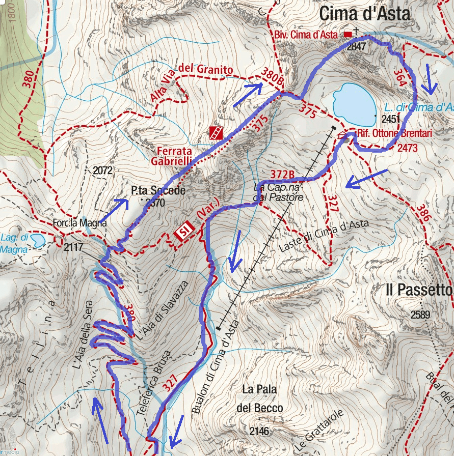 Ferrata Gabrielli Map Itinerary Detail