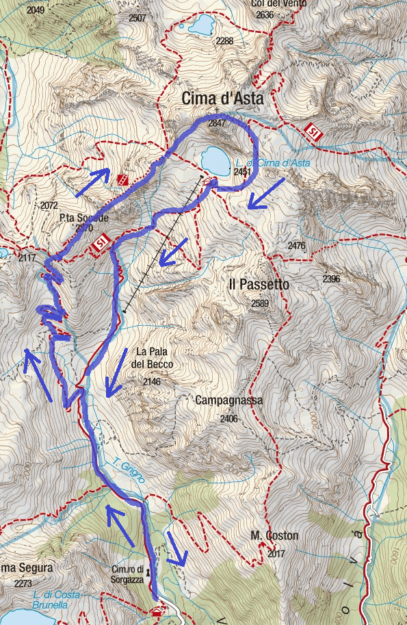 Ferrata Gabrielli Itinerary Map