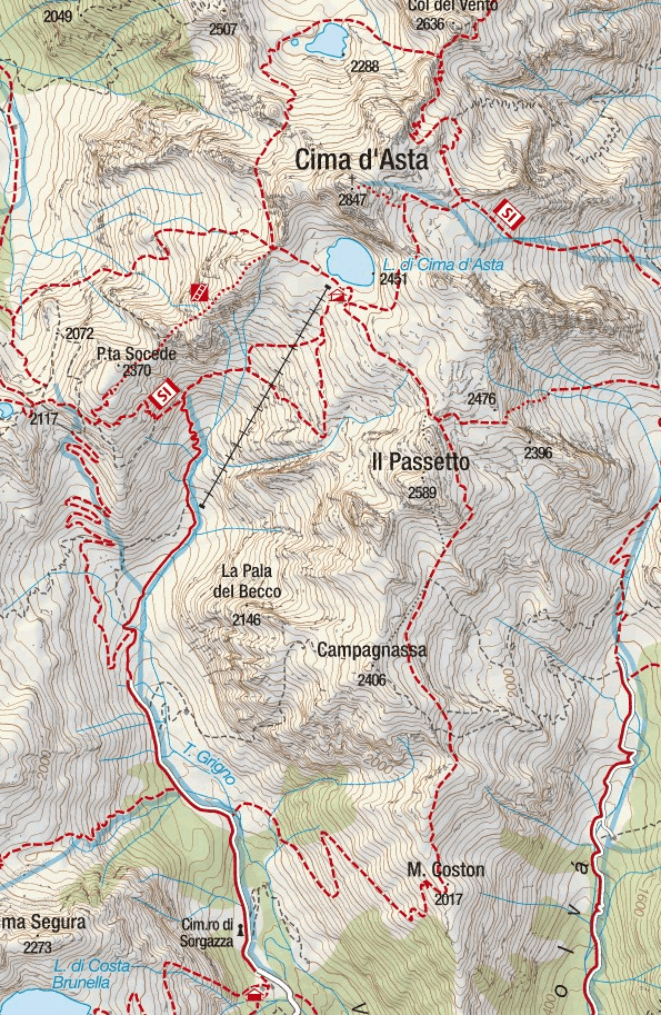 Ferrata Gabrielli Map