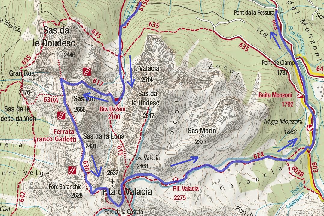 Ferrata map Gadotti Itinerary Detail