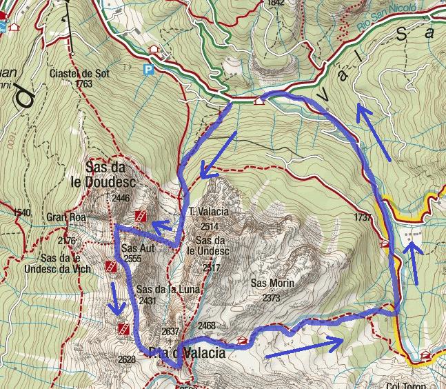 Cartina Ferrata Gadotti Itinerario
