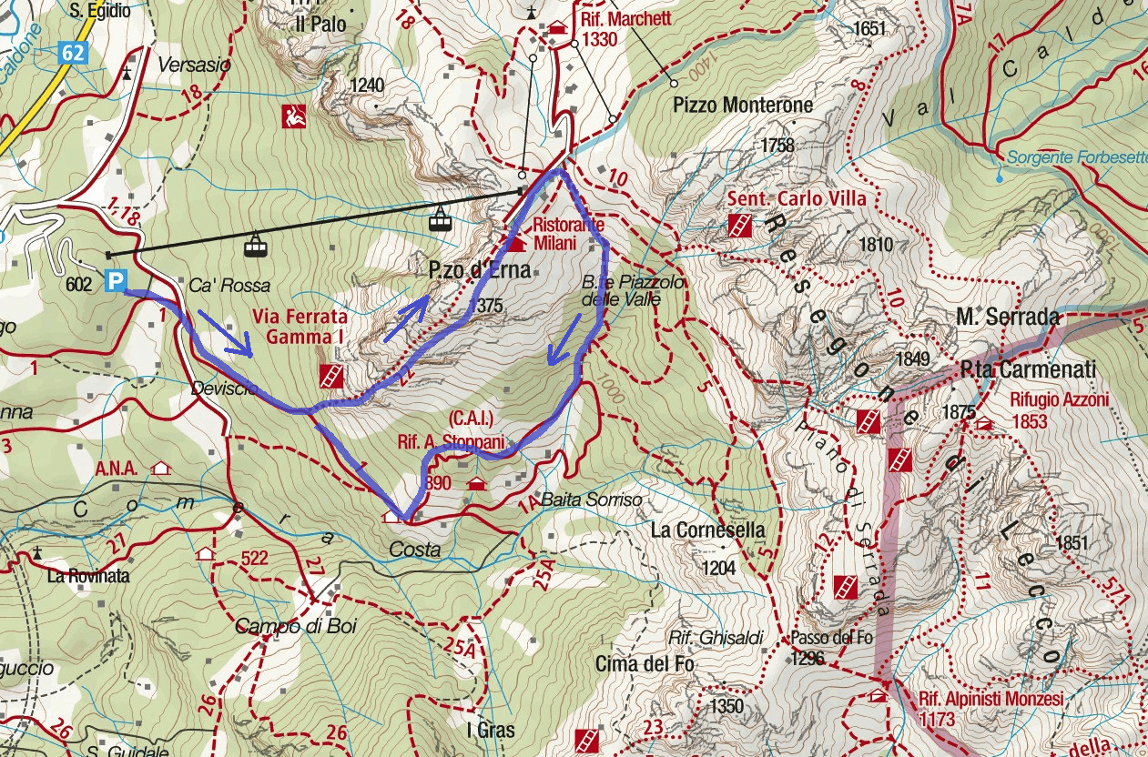 Ferrata Map Range 1 Itinerary