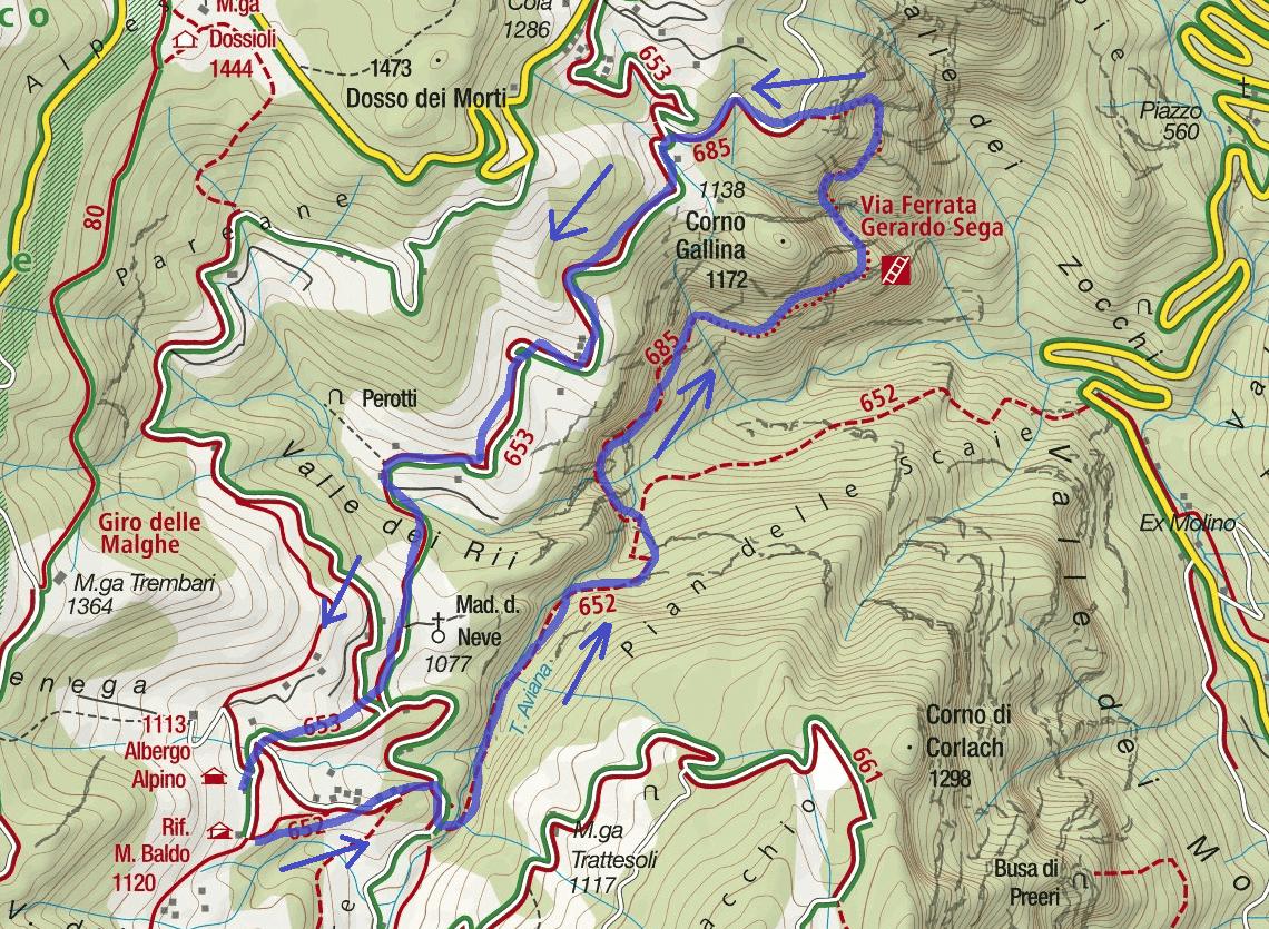 Gerardo Sega Route Ferrata Map
