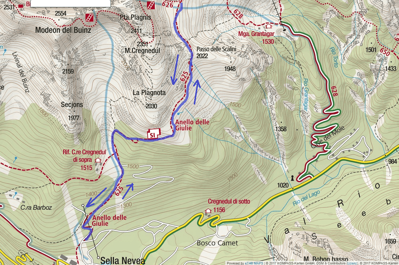 Goitan Ferrata Map Itinerary Detail 1