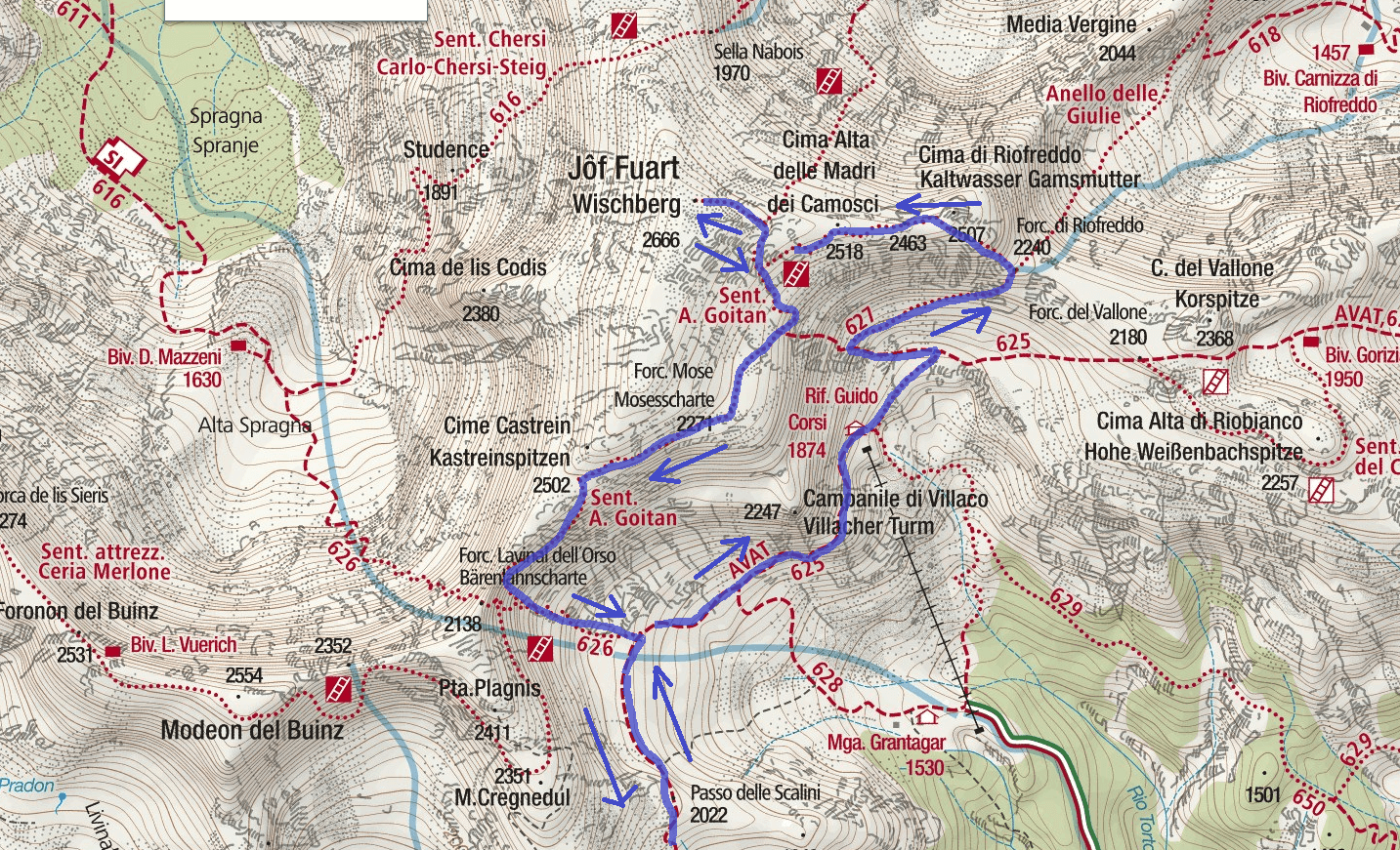 Goitan Ferrata Map Itinerary Detail 2
