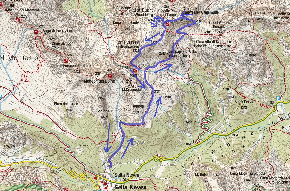 Goitan Ferrata Route Map