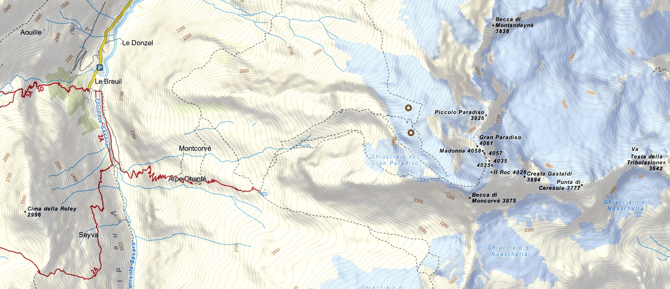 Gran Paradiso Ferrata Map