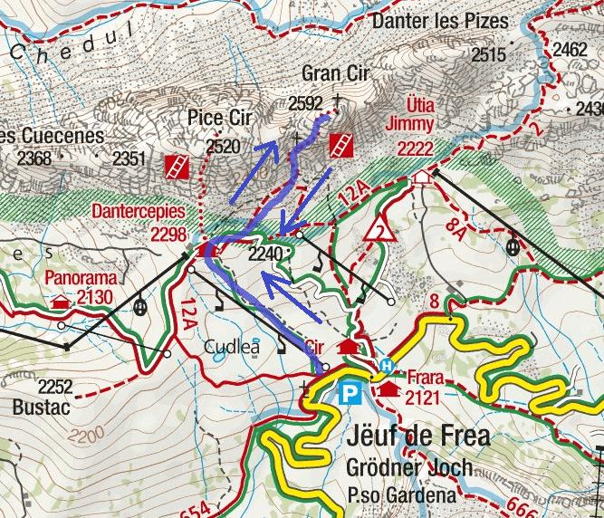 Cartina Ferrata Grande Cir Itinerario