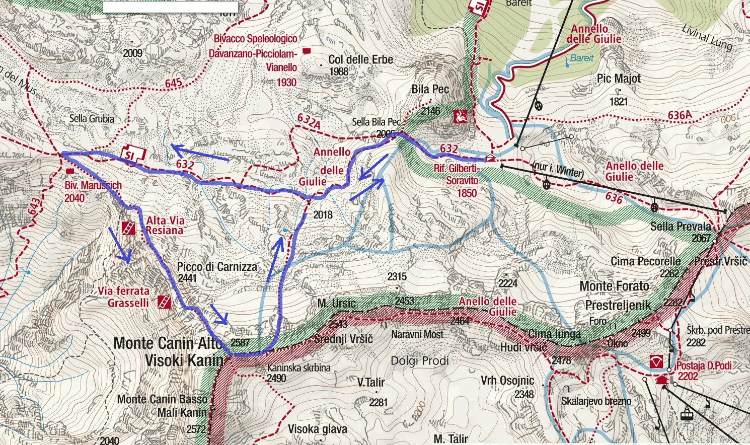 Grasselli Picco Carnina Map Canin Itinerary