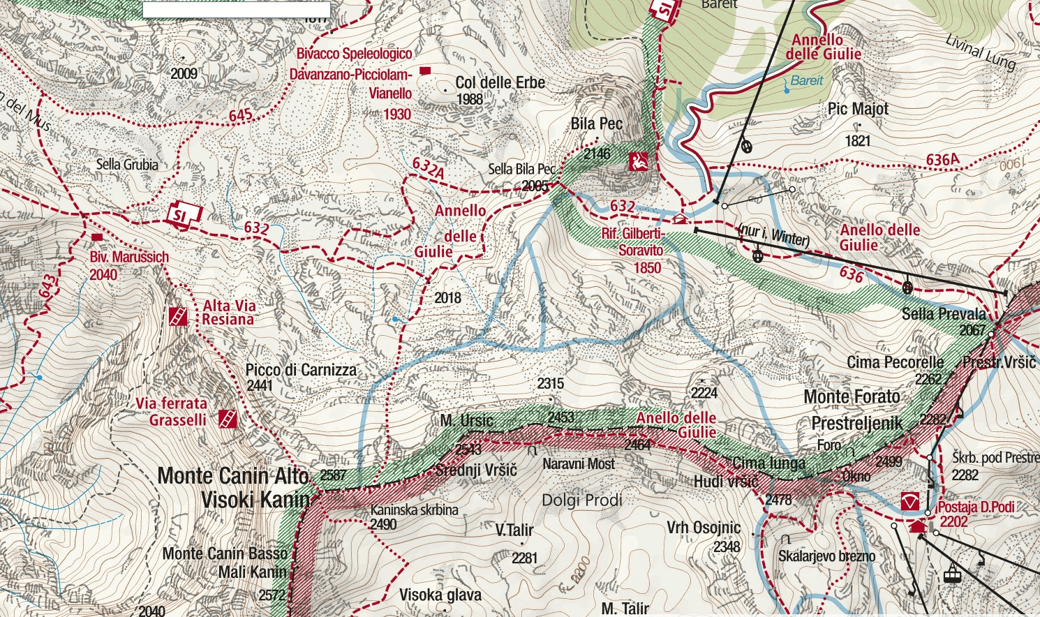 Grasselli Picta Carnizza Canin Ferrata Map