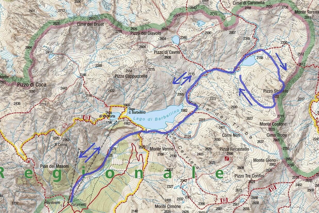 Cartina Ferrata Guerino Rossi Pizzo Strinato Itinerario