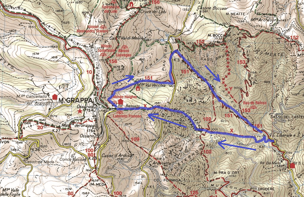 Guzzella Ferrata Route Map