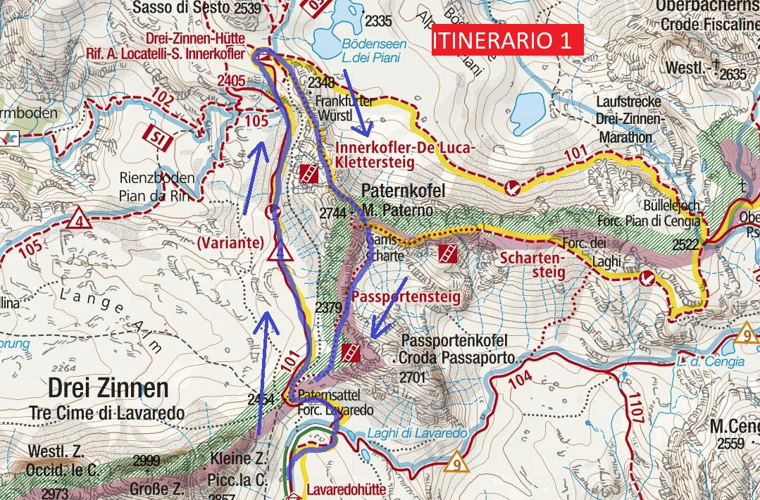 Cartina Ferrata Innerkofler De Luca Paterno Itinerario 1 Dettaglio