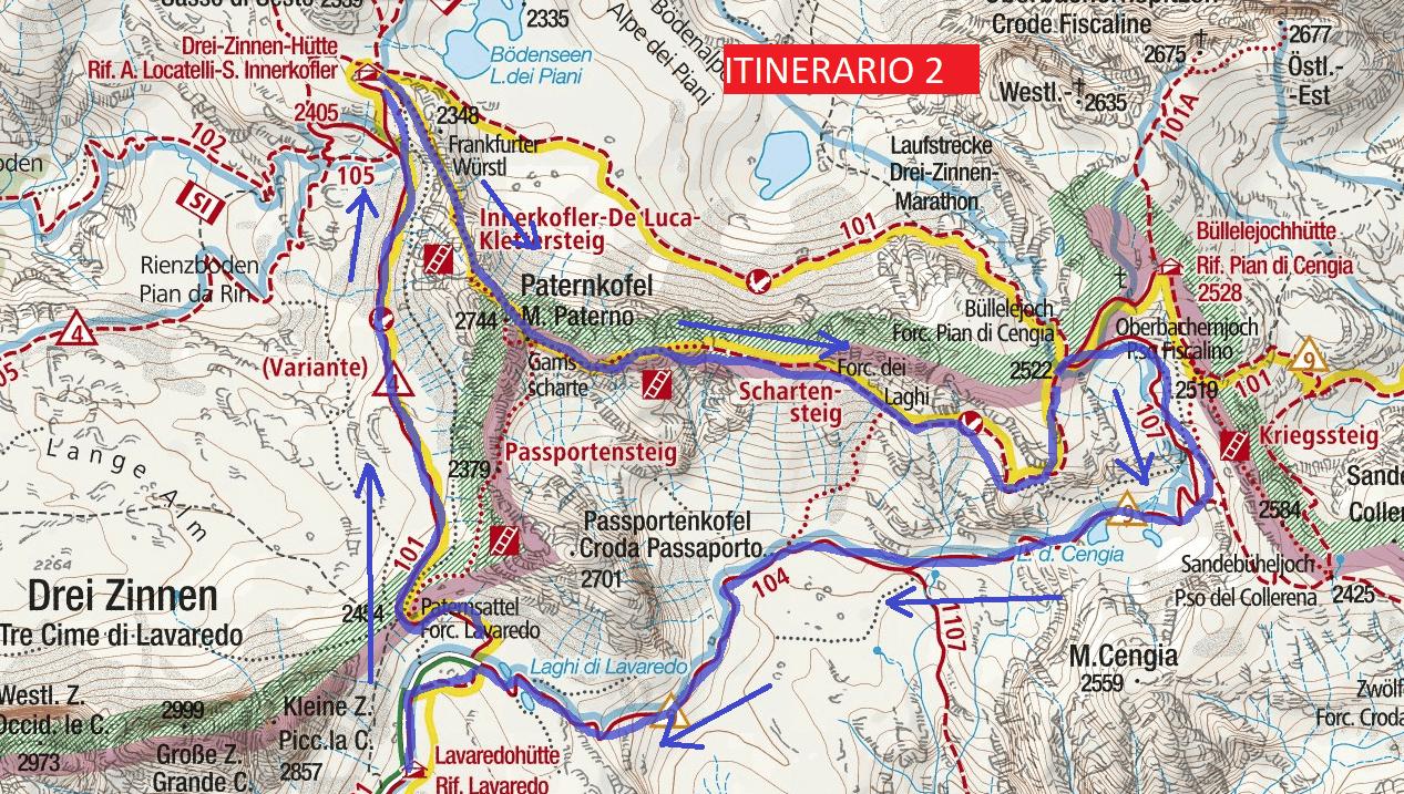 Cartina Ferrata Innerkofler De Luca Paterno Itinerario 2 Dettaglio