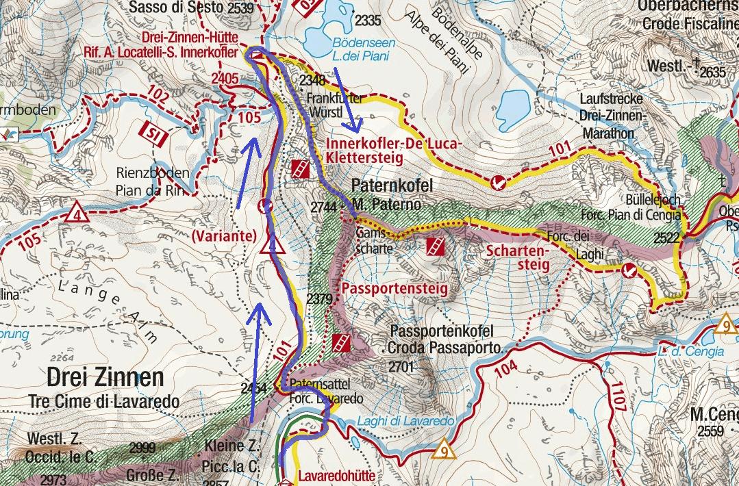 Cartina Ferrata Innerkofler De Luca Paterno Itinerario Dettaglio