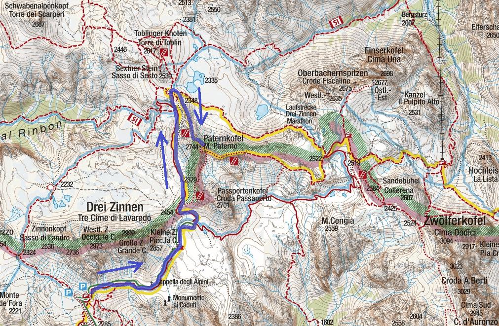 Cartina Ferrata Innerkofler De Luca Paterno Itinerario