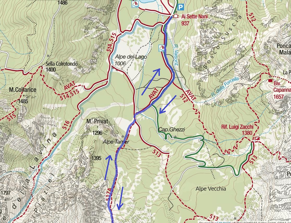 Cartina Ferrata Italiana Balze Mangart Itinerario Dettaglio 1