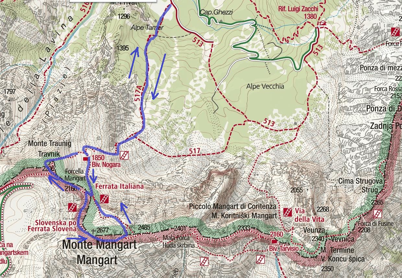 Cartina Ferrata Italiana Balze Mangart Itinerario Dettaglio 2