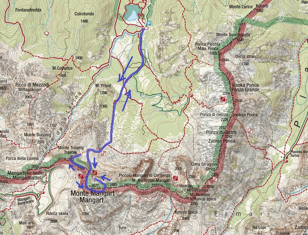 Italian Ferrata Mangze Route Map