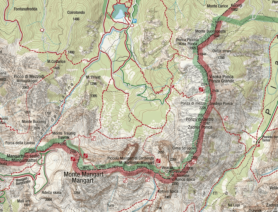 Balze Mangart Italian Ferrata Map