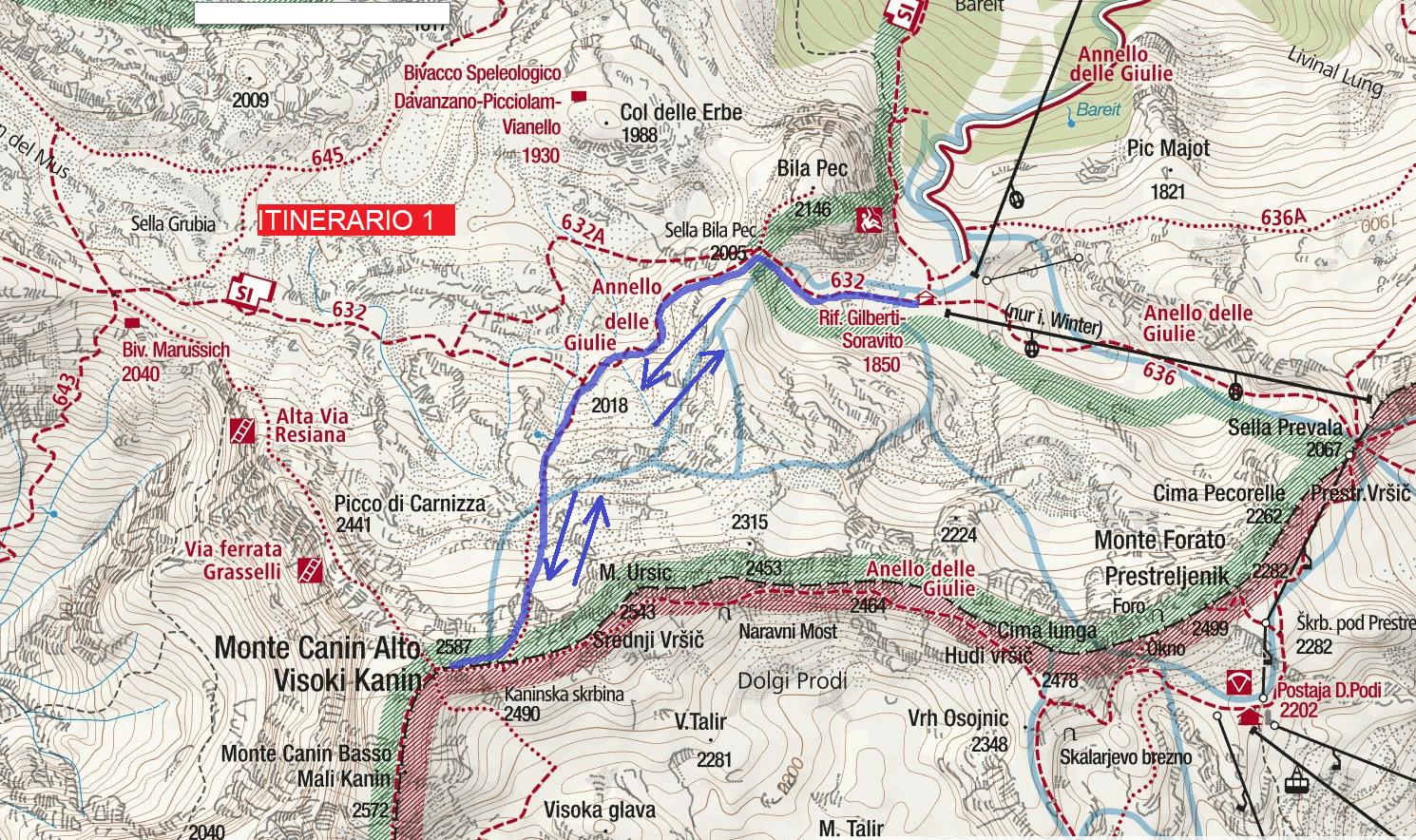 Julia Canin Ferrata Map Itinerary 1 Return to Cenge