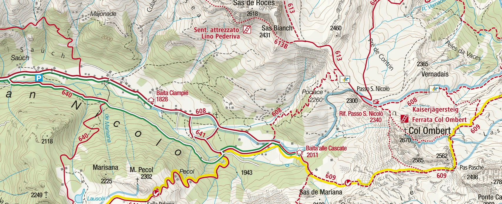 Kajserjager Col Ombert Ferrata Map