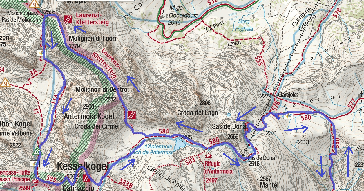 Laurenzi Ferrata Map Detail 2 with itinerary