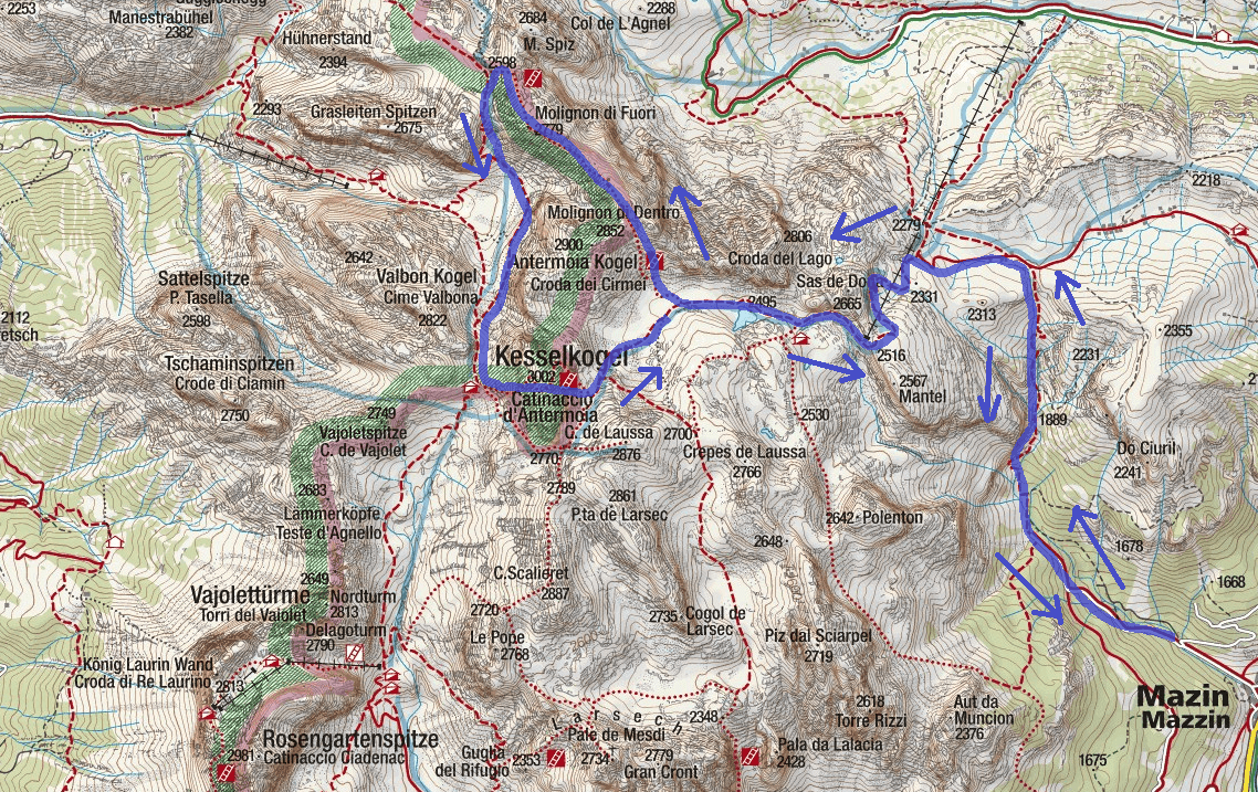 Laurenzi Ferrata map with itinerary