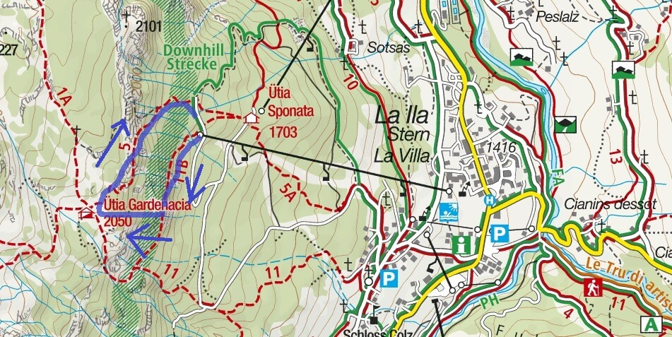 Les Cordes Ferrata Map Itinerary 1