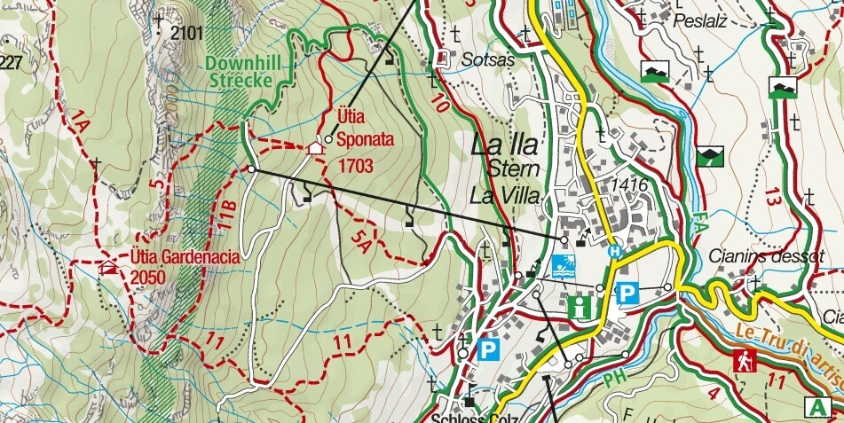 Les Cordes Ferrata map